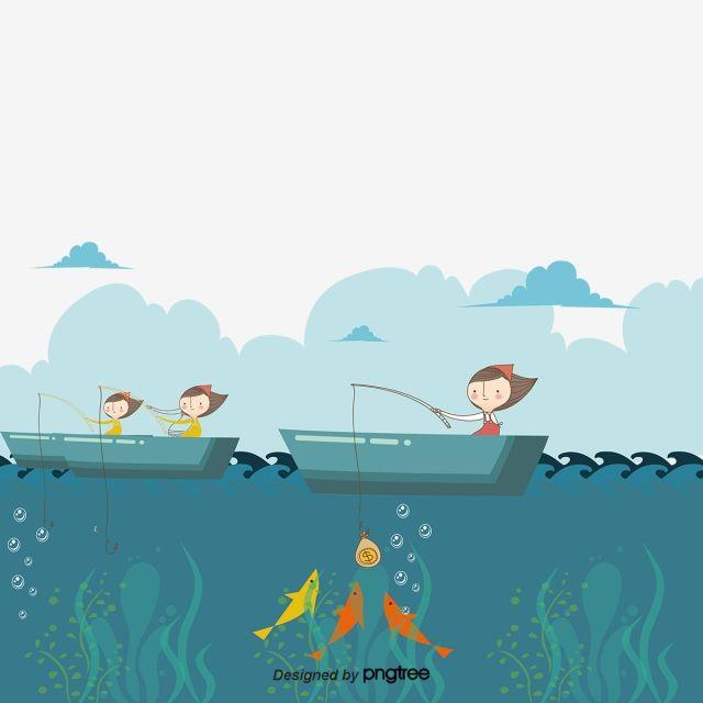 เวกเตอร คนตกปลา เร อ มหาสม ทร การ ต นภาพ Png และ เวกเตอร สำหร บการดาวน โหลดฟร มหาสม ทร แนวปะการ ง เร อ