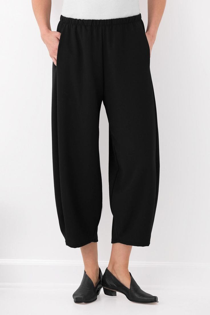 Crepe Barefoot Pant by Lisa Bayne . Our favorite figure-flattering lantern pant, now in a light, flowing crepe fabric that combines breezy comfort and polished elegance.