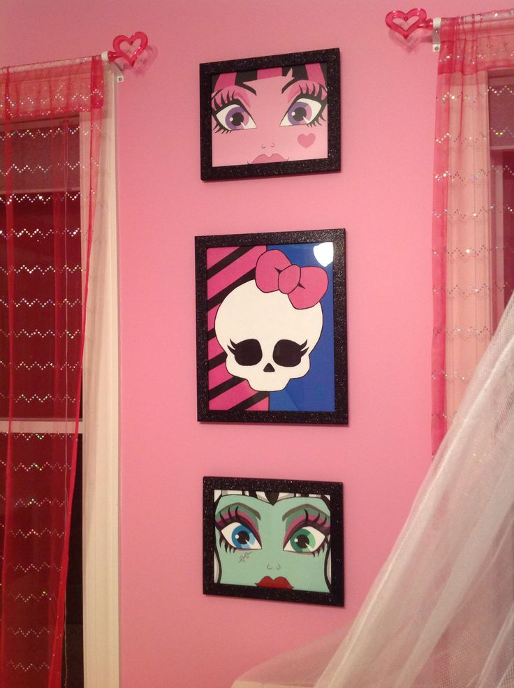 Monster High art for daughter's room - acrylic on canvas and glitter frames from Michael's.
