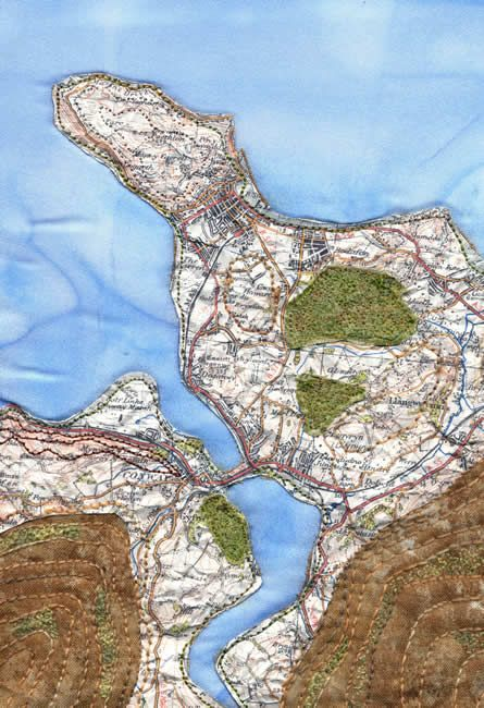 Llandudno map art quilt by Mary Bryning