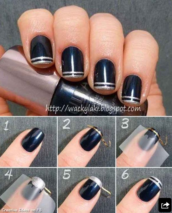 Navy Blue Double French Tips Nail Arts.