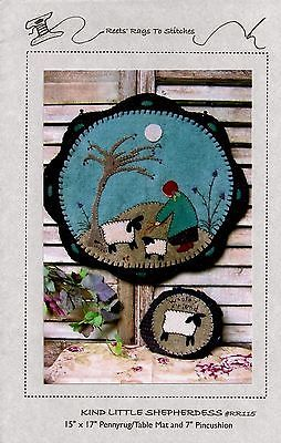 Kind Little Shepherdess Penny Rug Wool Applique Pattern Reets Rags to Riches | eBay