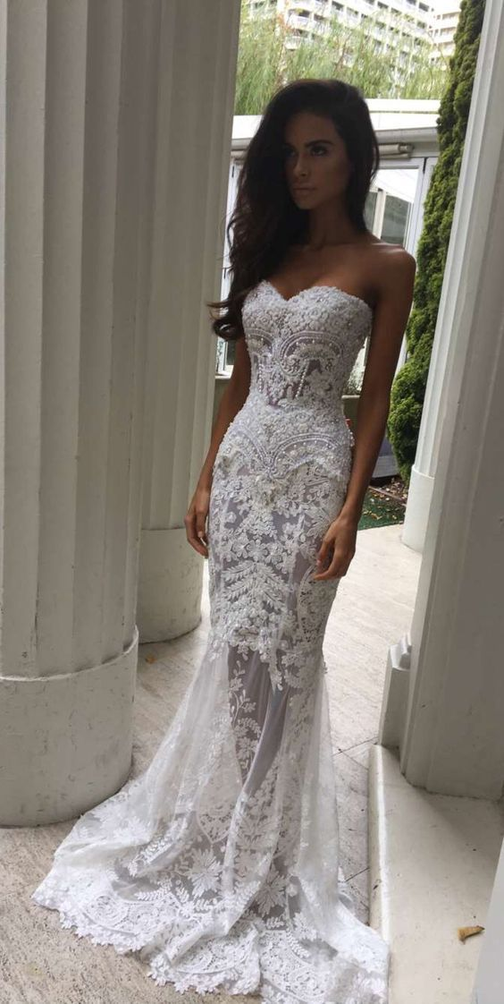 Charming White Lace Wedding Dress,Sexy Sweetheart Bridal Dress,Sexy See Through Wedding Dress
