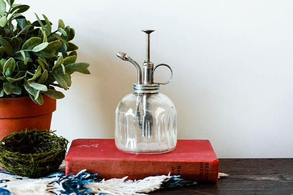 This vintage glass plant atomizer is a Bohemian plant sprayer and perfect as your Jungalow gardening tool! Use this indoor gardening atomizer as a glass watering can for the perfect Bohemian addition to your Rustic succulent gardening tools!