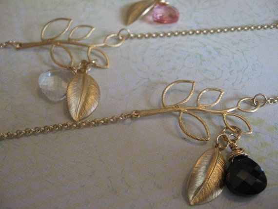 Black Swarovski Crystal and Gold Leaf by DirtyBirdJewellery, $25.00