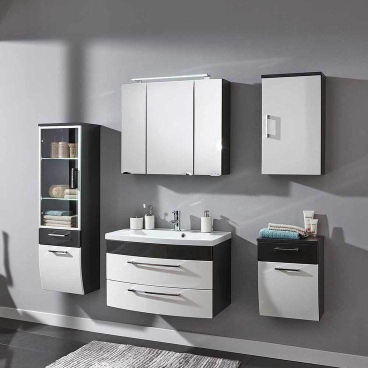 Badezimmer Kombination In Hochglanz Weiß Anthrazit Made In Germany (5 Teilig)  Jetzt Bestellen