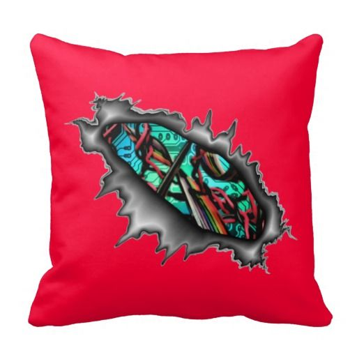 Electronic Circuit Board Wires Pillow Red