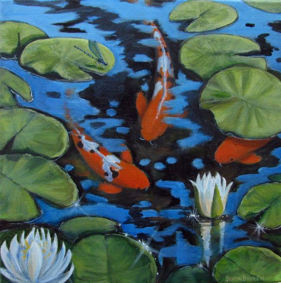 Orange koi fish pond lilies dragonfly original acrylic for Koi fish pond art