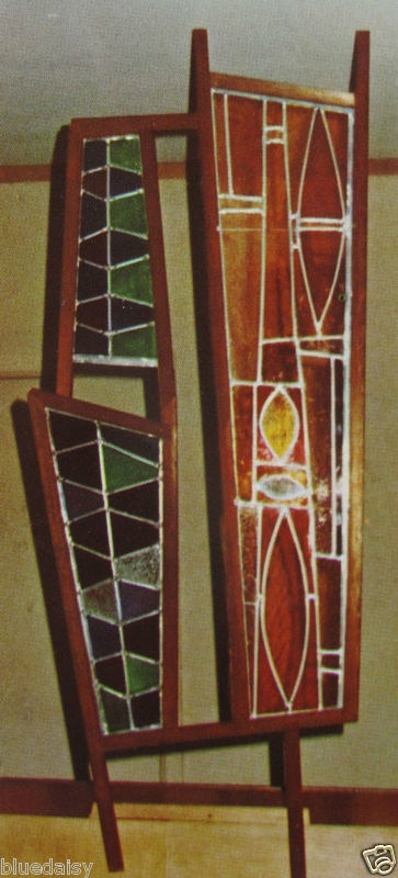 Home made mid-century stained glass room divider.