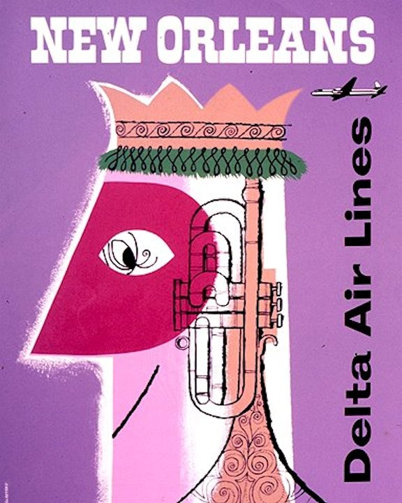 New Orleans, via Delta Airlines - vintage travel poster