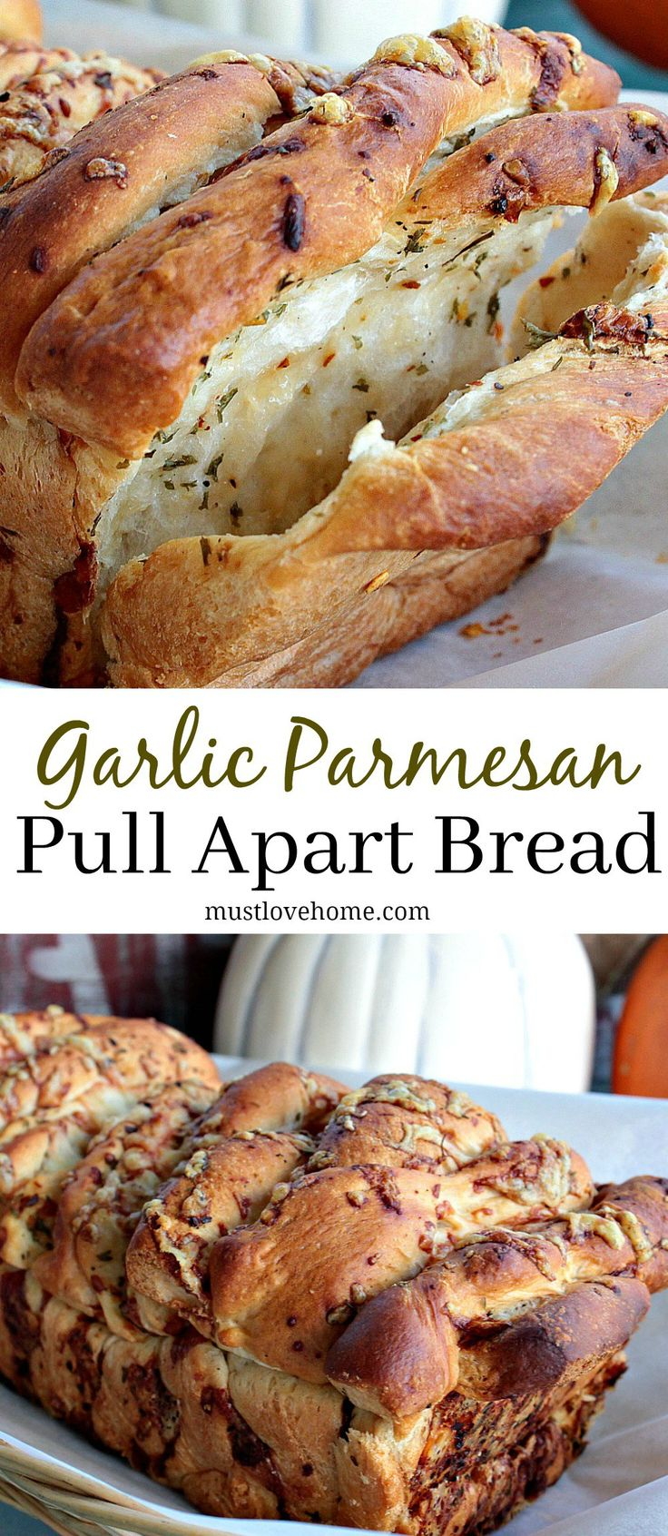 Garlic Parmesan Pull Apart Bread is a soft, buttery loaf loaded with flavor. It looks fancy but it could not be easier to make. No yeast or kneading to worry about because this recipe uses frozen bread dough!