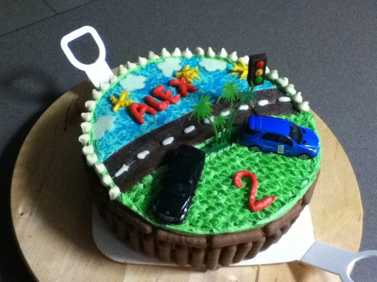 Car road plane boy's birthday cake