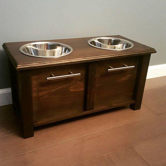 Custom dog bowl stand w/ storage by BeardMadeCWW on Etsy