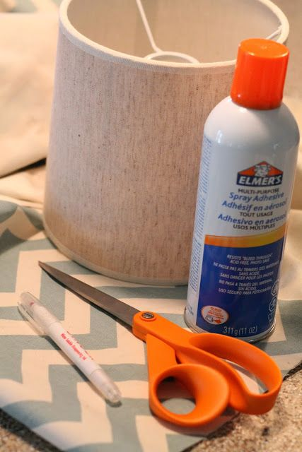 Chevron Kitchen Lamp Shade Redo: DIY - welcometothemousehouse.com
