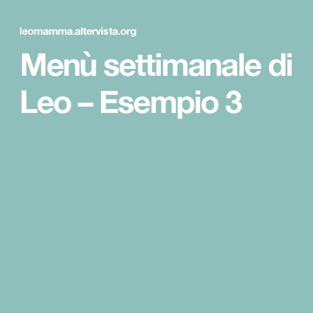 Menù settimanale di Leo – Esempio 3