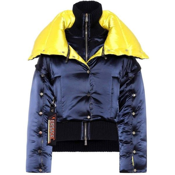 Versace Layered Puffer Coat (£2,130) ❤ liked on Polyvore featuring outerwear, coats, blue, versace coat, puffy coat, versace, blue puffer coat and puffer coat