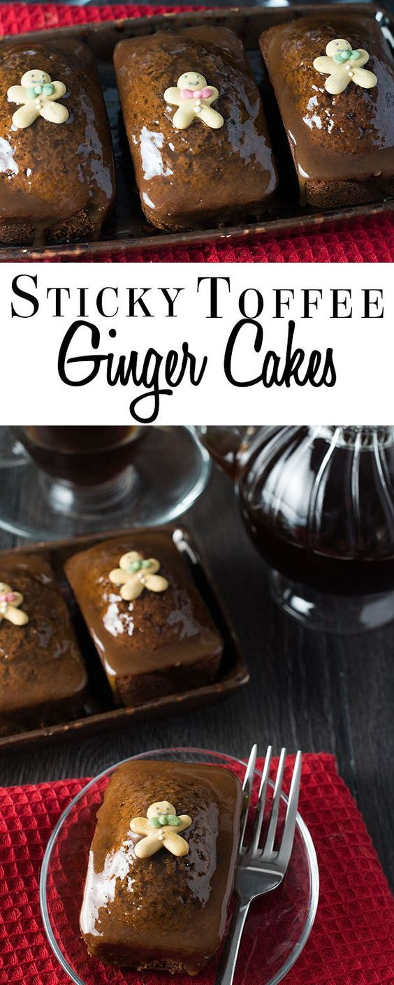 This indulgent recipe for Sticky Toffee Ginger Cakes makes wonderfully light individual gingerbread flavored cakes are covered with a sticky toffee… | Pinterest