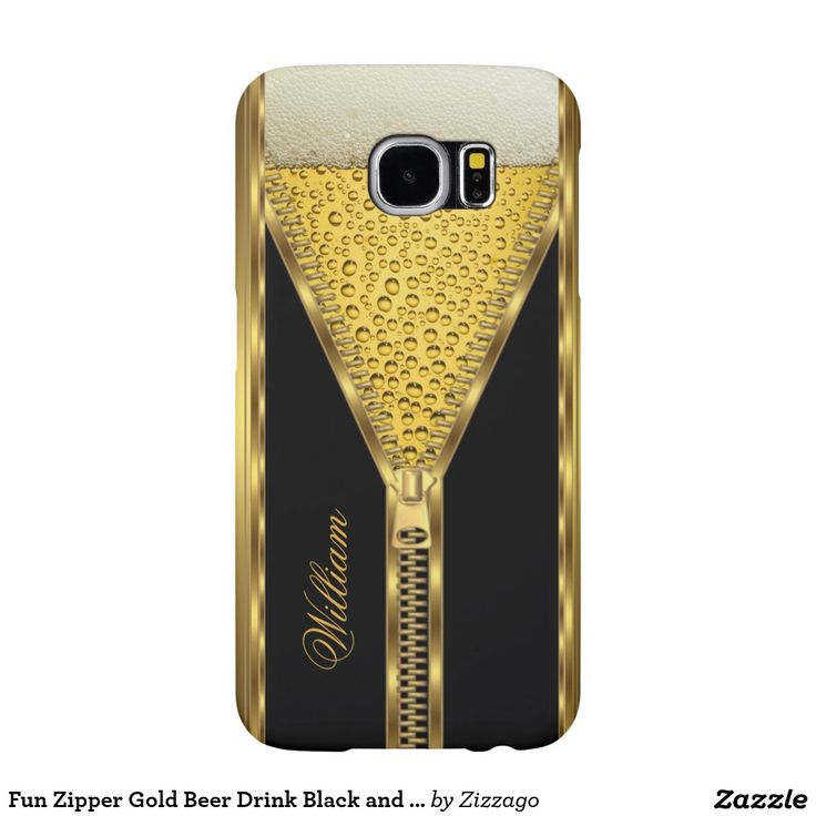 Fun Zipper Gold Beer Drink Black and Gold Samsung Galaxy S6 Cases