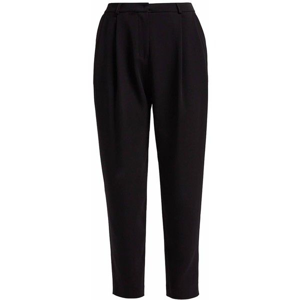 WtR  - Sky Tapered Trousers Black ($339) ❤ liked on Polyvore featuring pants, pleated pants, taper cut pants, tailored pants, lining pants and draped pants
