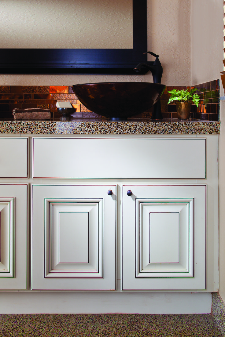 White bathroom cabinets countertop and backsplash by for Bathroom cabinets refacing