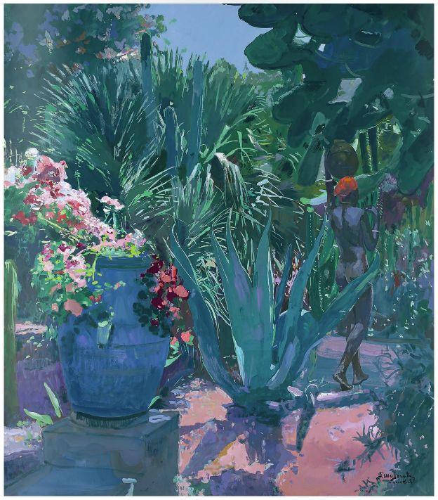 'Nu dans les jardins Majorelle' par Jacques Majorelle. Gouache sur papier marouflé sur panneau. 88 x 77,5 cm.