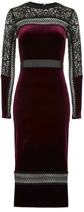 Topshop Mixed lace velvet midi dress