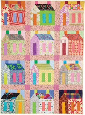 """Quilt Inspiration: Free pattern day! Big Houses quilt with 16"""" blocks, 55 x 74"""", free pattern by Pam Rocco for Quilters Newsletter"""