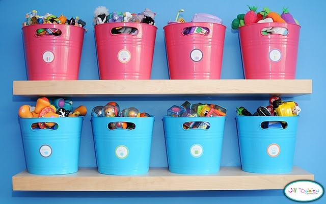 easy toy bins {shown for boy + girl} plus free printable labels