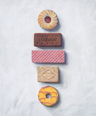 1970's biscuits! Jammy Dodger, Bourbon, Pink wafer, Custard Cream and a party ring (my favorite).