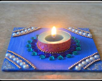 Diya kundan rangoli candle holder tealight candle by CozMHappy