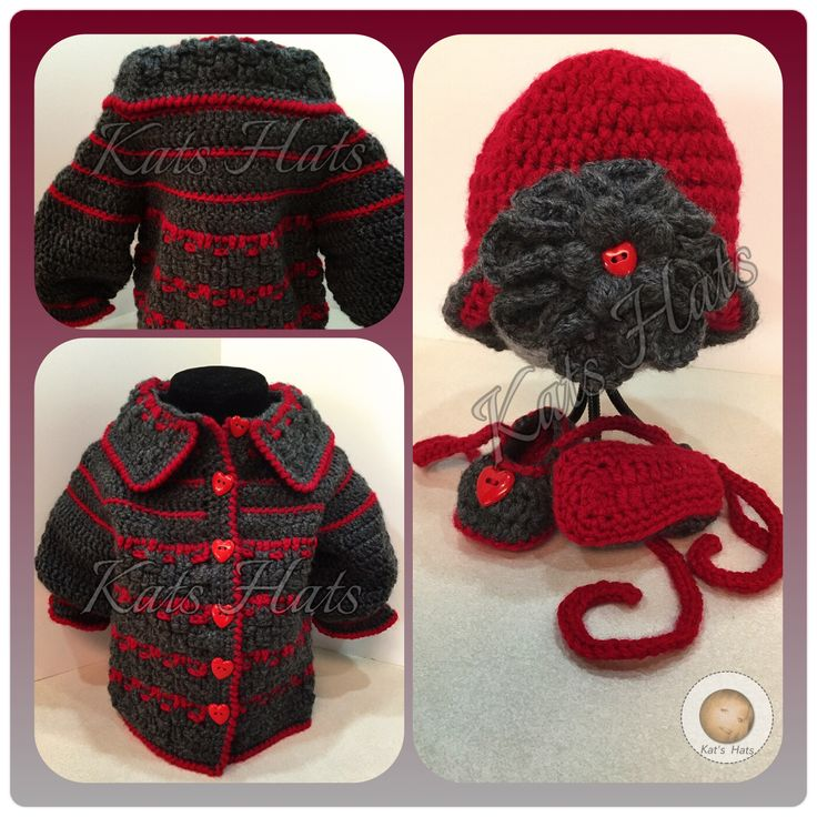 Crochet Baby Sweater Coat, Hat and Shoes with Hearts Galore Original Design http://facebook.com/Kats.hats.1