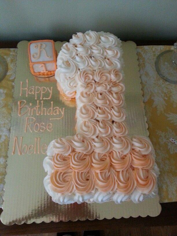 Rose's 1st Birthday cake! With a SMALL smash cake! Too precious!