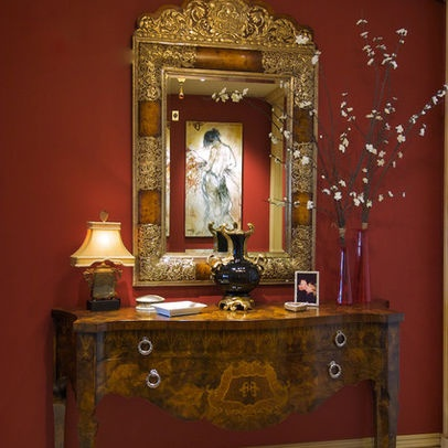 Love How The Art Work Reflects In The Ornate Mirror .traditional Entry By  Susan Jay Design
