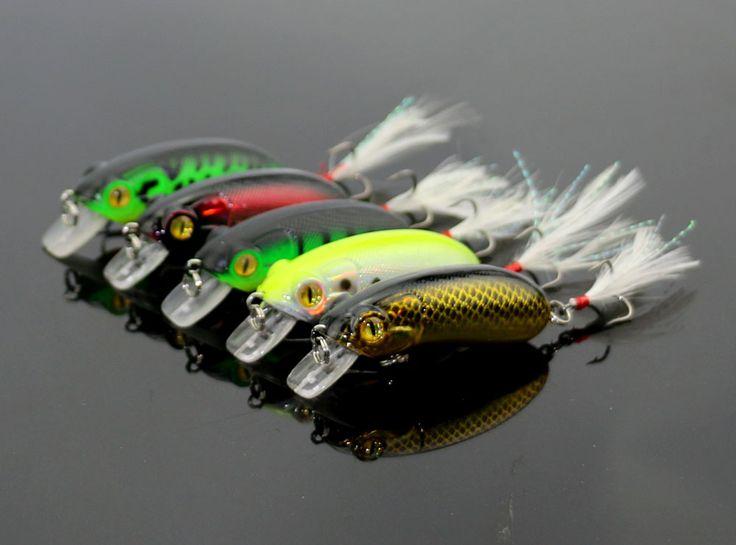 100pcs 10G 6CM Fishing Lures Minnow Crank Bait Crankbait Bass Tackle Feather Hook bait wobblers fishing bait