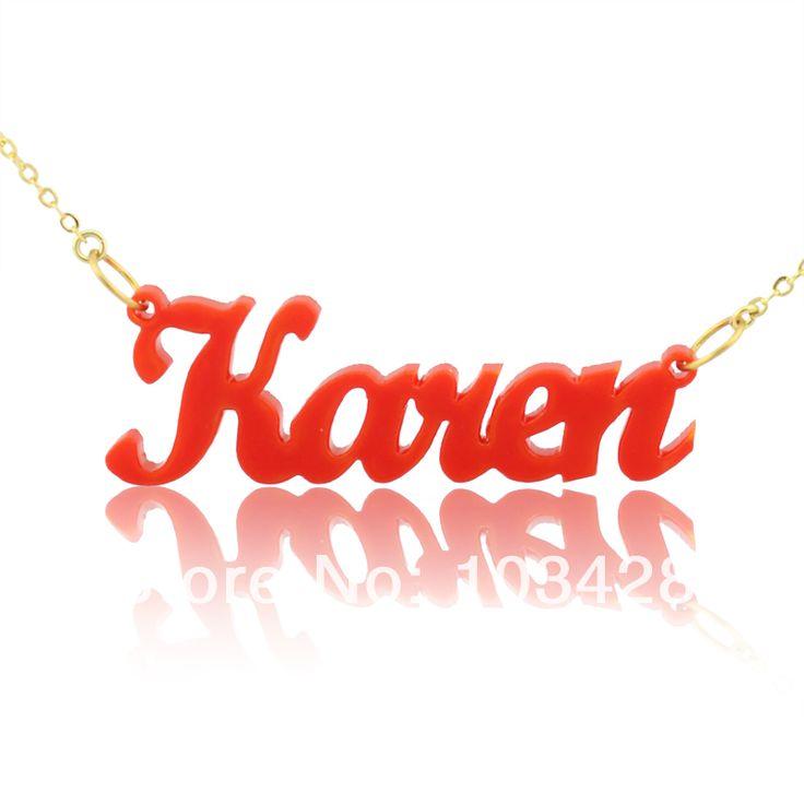 Карен Стиль Красный Ювелирных Изделий Имя Ожерелье Персонализированные Ювелирные Изделия Индивидуальные Ожерелье Идеальный Подарок для Девочек