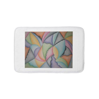 Colorful abstract shapes small bath mat - home decor design art diy cyo custom