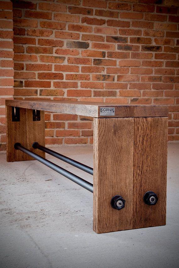 Vintage Industrial Oak bench by KORNIK on Etsy