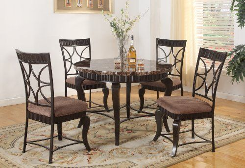 Roundhill Furniture 5-Piece Round Artificial Natural Faux Marble Top Dining Set, Includes 1