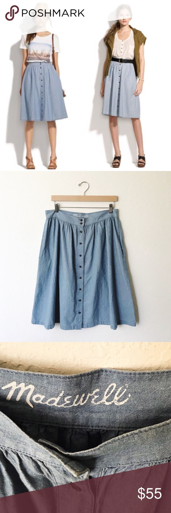 Madewell Chambray Sightseer Midi Skirt Knee length Midi button up Chambray Sightseer Skirt by Madewell. Excellent preowned condition, like new. Madewell Skirts Midi