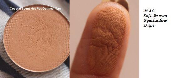 """Coastal Scents eyeshadow in """"Oatmeal Tan"""" = Mac eyeshadow in 'Soft Brown' dupe"""