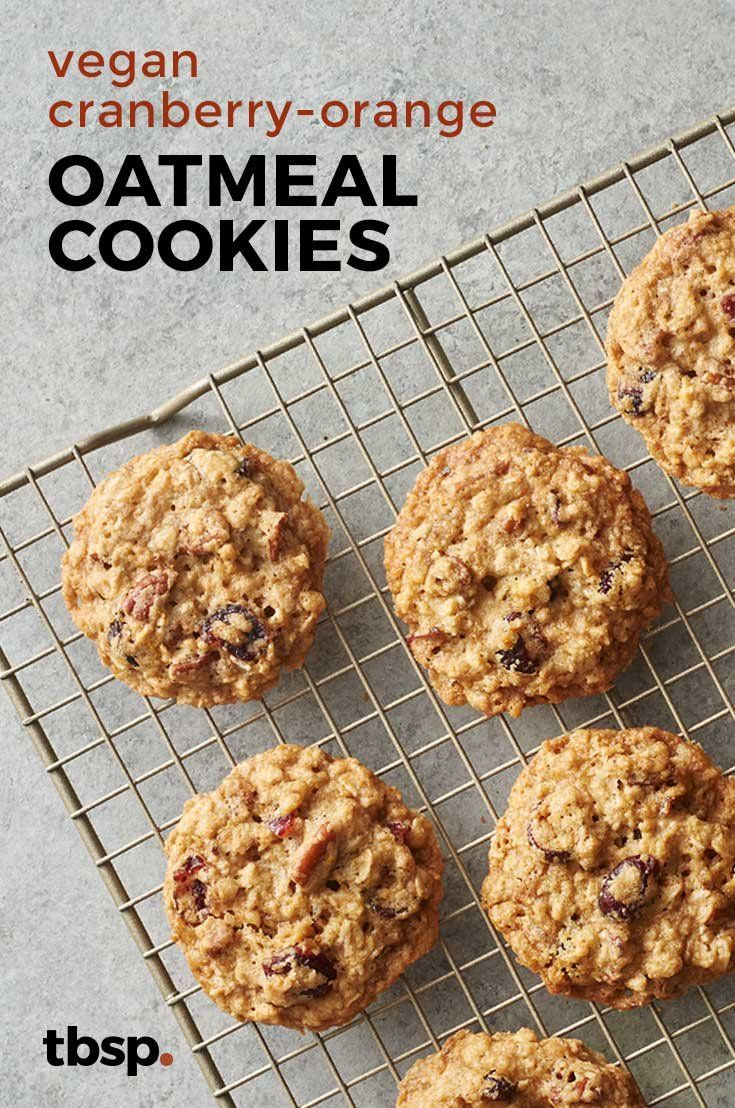 Vegan Cranberry Orange Oatmeal Cookies Recipe Vegan Holiday Cookies Vegan Oatmeal Cookies Holiday Cookie Recipes