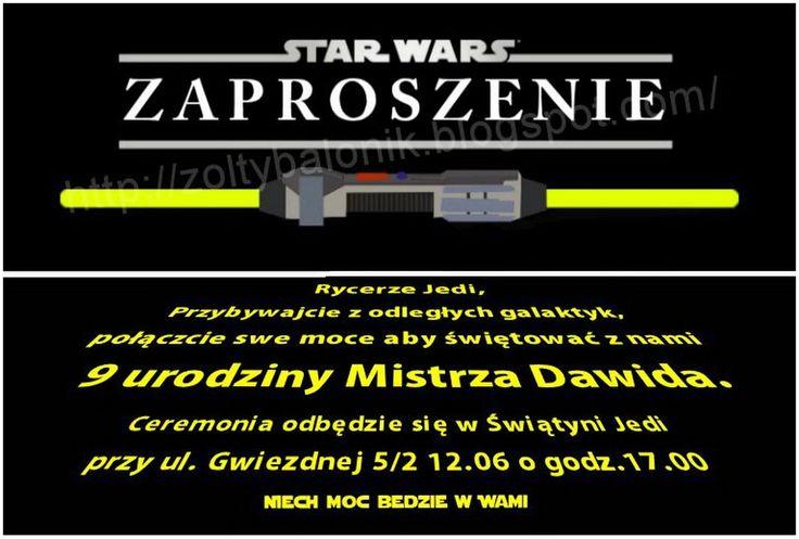 Żółty balonik: Star Wars - Żółty balonik - zaproszenie
