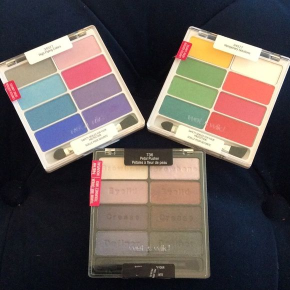 Wet n Wild palette lot of 3! Petal pusher 736 lightly used, High Flying Colors 34527 one color swatched and Hemporary Solutions 34577 New unopened. Please see pictures for reference. Comes from a smoke free and pet free home. Wet n Wild  Makeup Eyeshadow