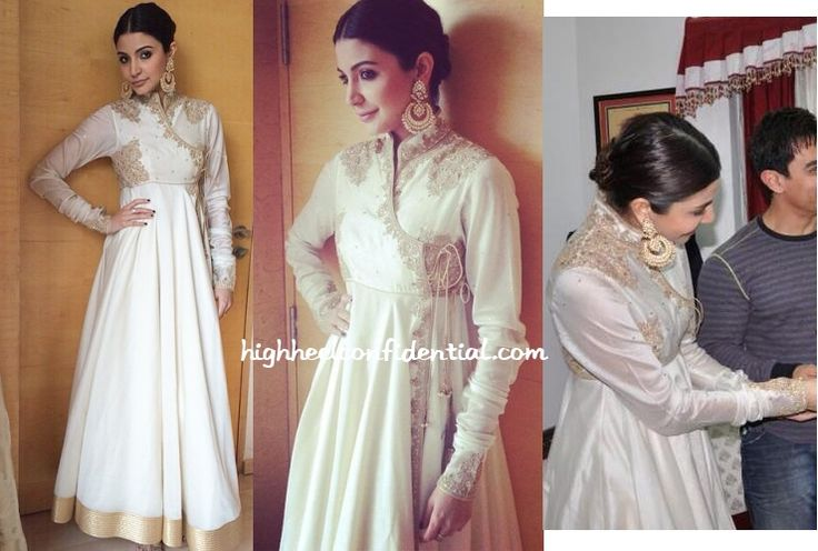 For the Raipur leg of PK promotions Anushka did desi in a white Rohit Bal anarkali with earrings by Divya Chugh. While she looked lovely, the white and gold look gave us a sense of
