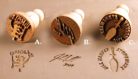 Examples of marker's marks in clay and historical pottery marks.