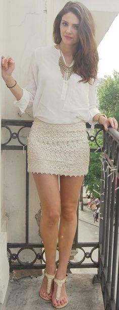 // cute / skirt / white / adorable / simple / fashion / lace //