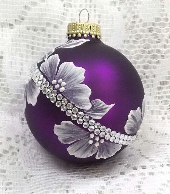 Rich Purple Hand Painted 3D White MUD Textured Floral Design Ornament with Bling 260