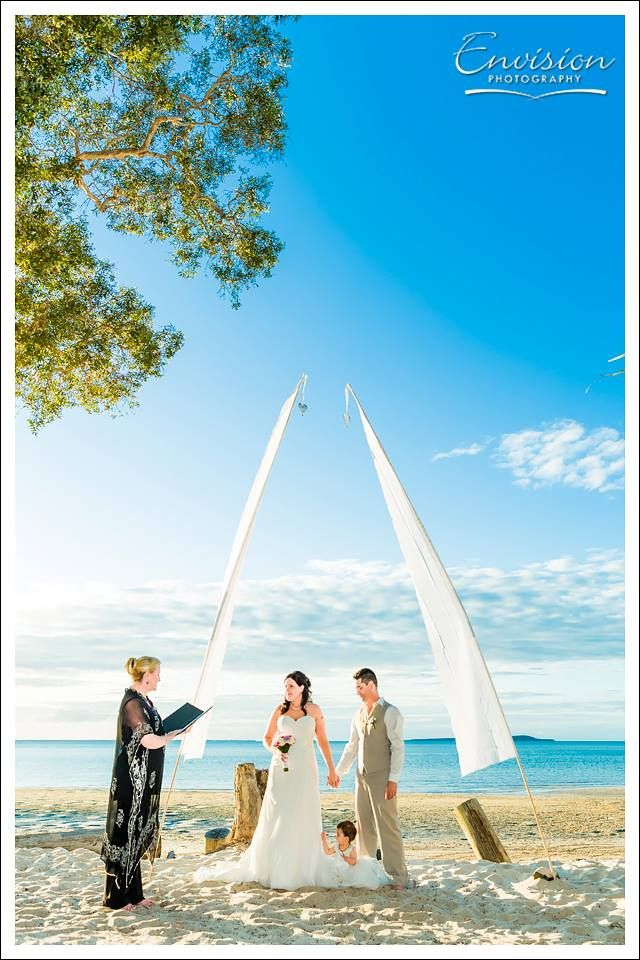 A Sunset Beach ceremony beautifully captured by the folks at Envision #kingfisherbay #fraserisland #destinationwedding #fraserislandwedding #fraserwedding http://www.fraserislandweddings.com.au/ #AccorAustralia #Mercure