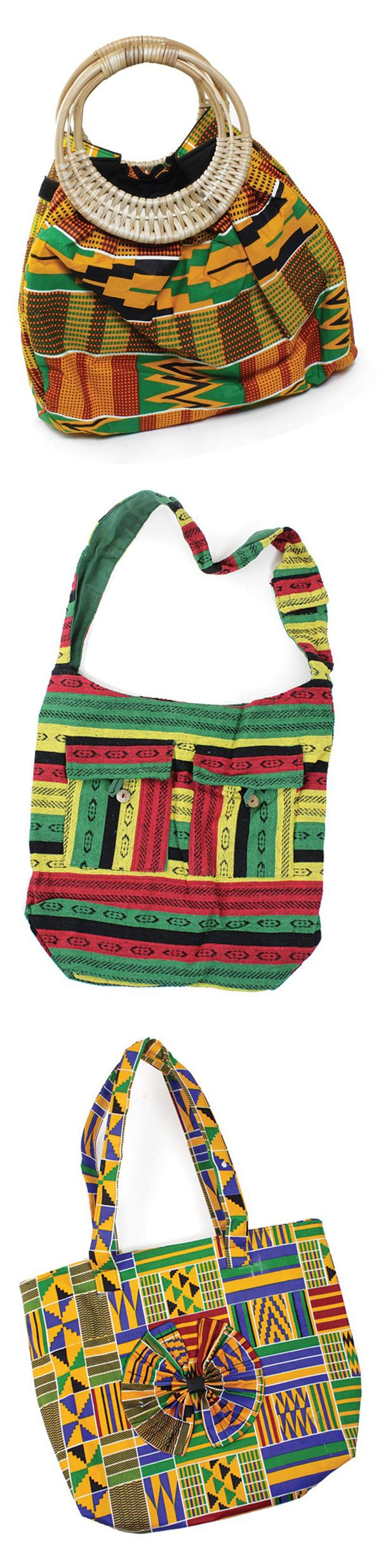 Traditional African Print Handbags - These beautiful African style purses are a perfect way to celebrate your love of African culture and history.  Each purse is made with traditional African fabrics that display the bold patterns and colors of Africa.  Everything from Kente cloth bags to Rasta style bags in traditional Jamaican colors.  Click to see all of the beautiful African handbags we have to offer!  #africa #african #handbag #purse #purses #bag #jamaican #rasta #kente #africanfashion…