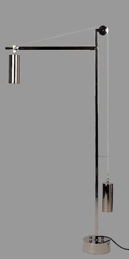 Bauhaus Floor Lamp ~ 1923    BH 23 Bauhaus floor lamp by Tecnolumen - metal nickel plated.  Impacting the world of design.  A show piece.